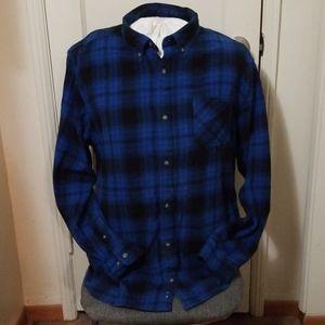 NORTHCREST blue black plaid flannel shirt